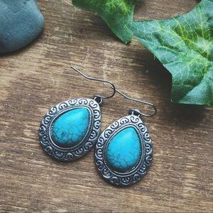 Jewelry - Faux Turquoise Tear Drop Bohemian Earrings